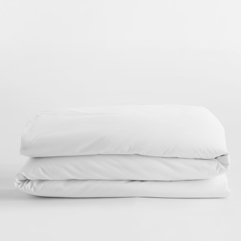 Legends Luxury Solid White Cotton Sateen Queen Duvet Cover