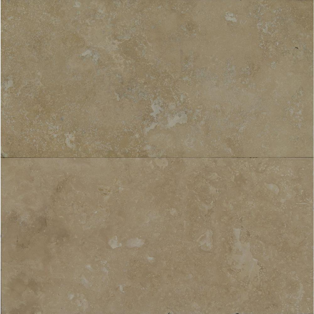 Beige 12 in. x 24 in. Honed Travertine Floor and Wall