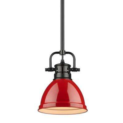 Duncan 1-Light Black Mini-Pendant and Rod with Red Shade
