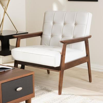 Stratham White Faux Leather Upholstered Accent Chair