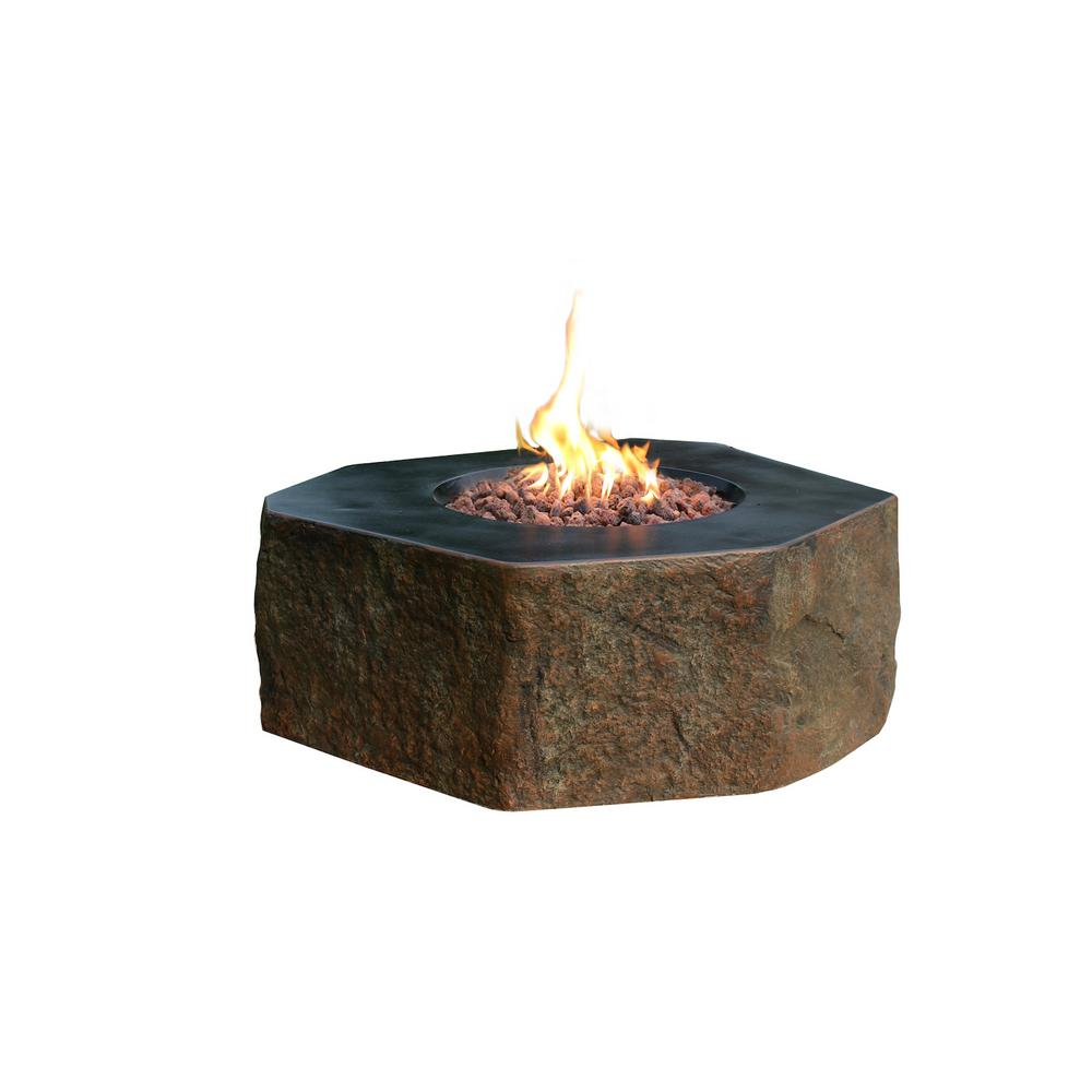 Elementi Columbia 36 in. x 16 in. Hexagon Concrete Natural Gas Fire Pit Table with Burner and Lava Rock