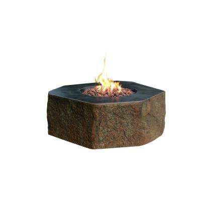 Hampton 32 in. x 14 in. Rectangle Concrete Propane Fire Pit Table with Burner and Lava Rock