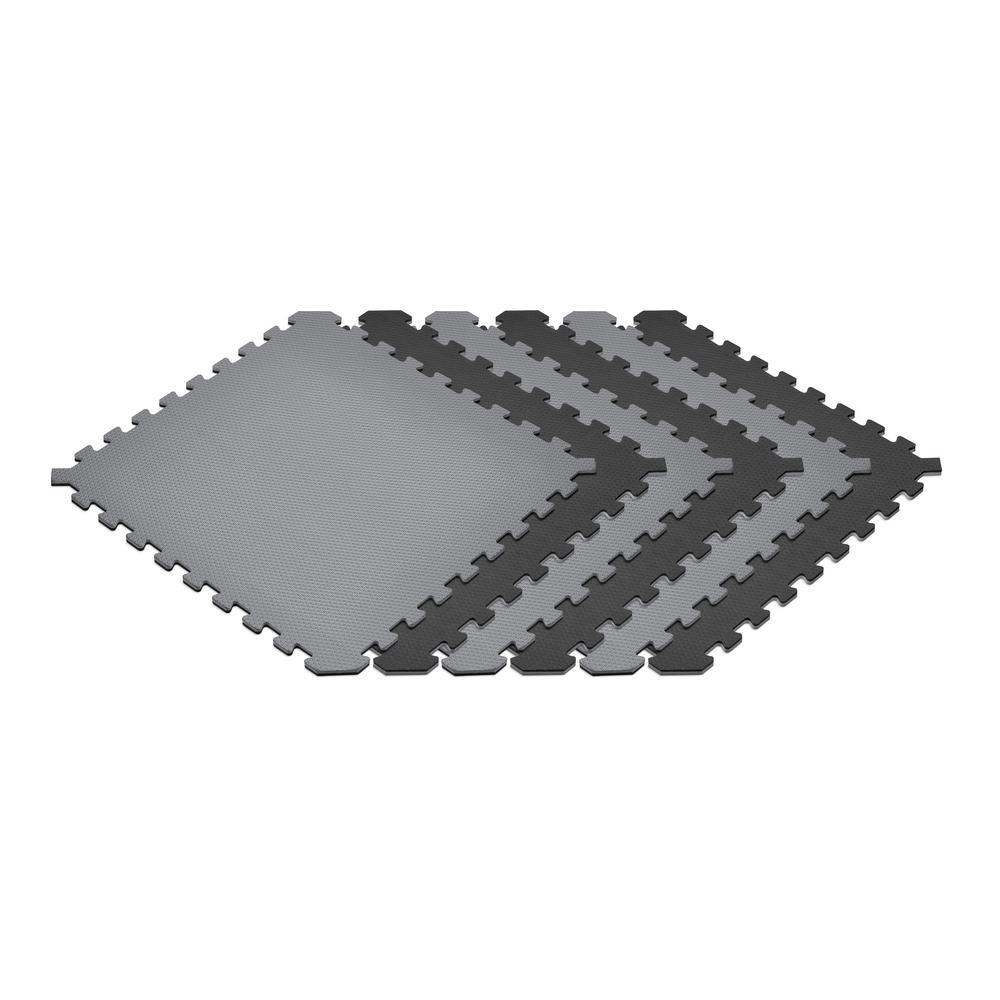Black/Gray 24 in. x 24 in. x 0.51 in. Foam Interlocking Reversible Floor Mat (6-Pack)