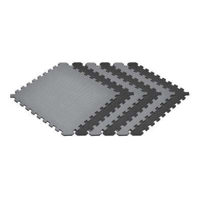 Gray/Black 24 in. x 24 in. EVA Foam Truly Reversible Interlocking Tile (48-Tile)