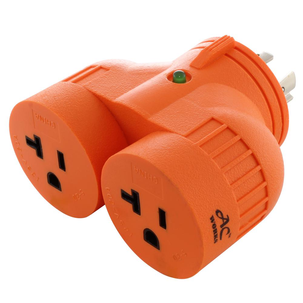 AC WORKS AC WORKS Generator V-Duo Outlet Adapter L14-20P 20 Amp 4-Prong Plug to Two 15 Amp/20 Amp Household Outlets