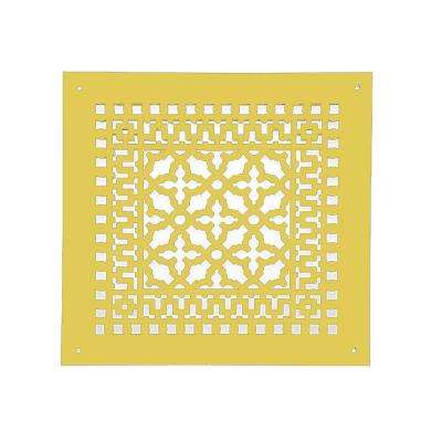 Scroll 12 in. x 12 in. Brass Grille with Mounting Holes, Brass