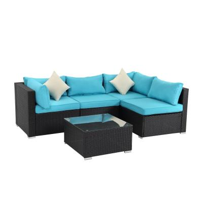 Black 5-Piece PE Wicker Outdoor Patio Sectional Sofa with Blue Cushions