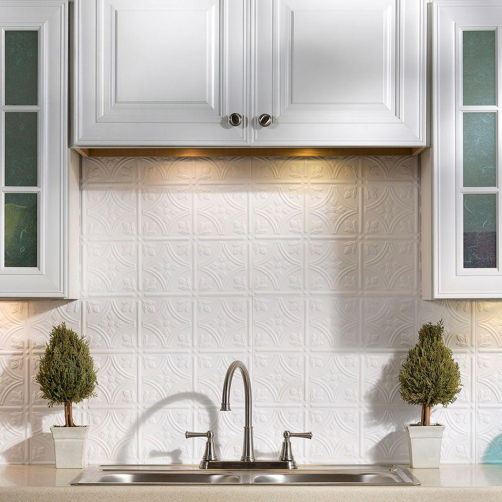 Fasade 24 in x 18 in traditional 1 pvc decorative backsplash panel in gloss white b50 00 the - Kitchen backsplash panel ...