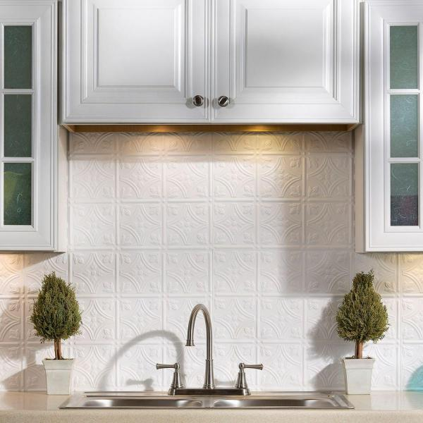 Fasade 25 in. x 18 in. Traditional Style # 1 PVC Decorative Backsplash Panel in Gloss White
