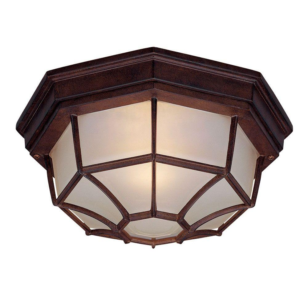 Acclaim Lighting Flushmount Collection 2-Light Burled Walnut Outdoor Ceiling-Mount Light Fixture