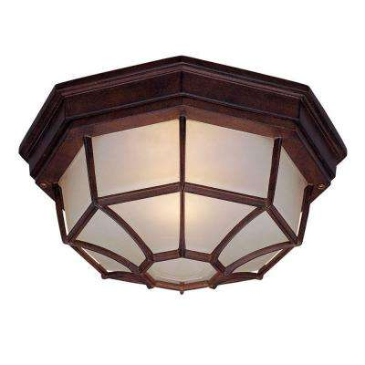 Flushmount Collection 2-Light Burled Walnut Outdoor Ceiling-Mount Light Fixture