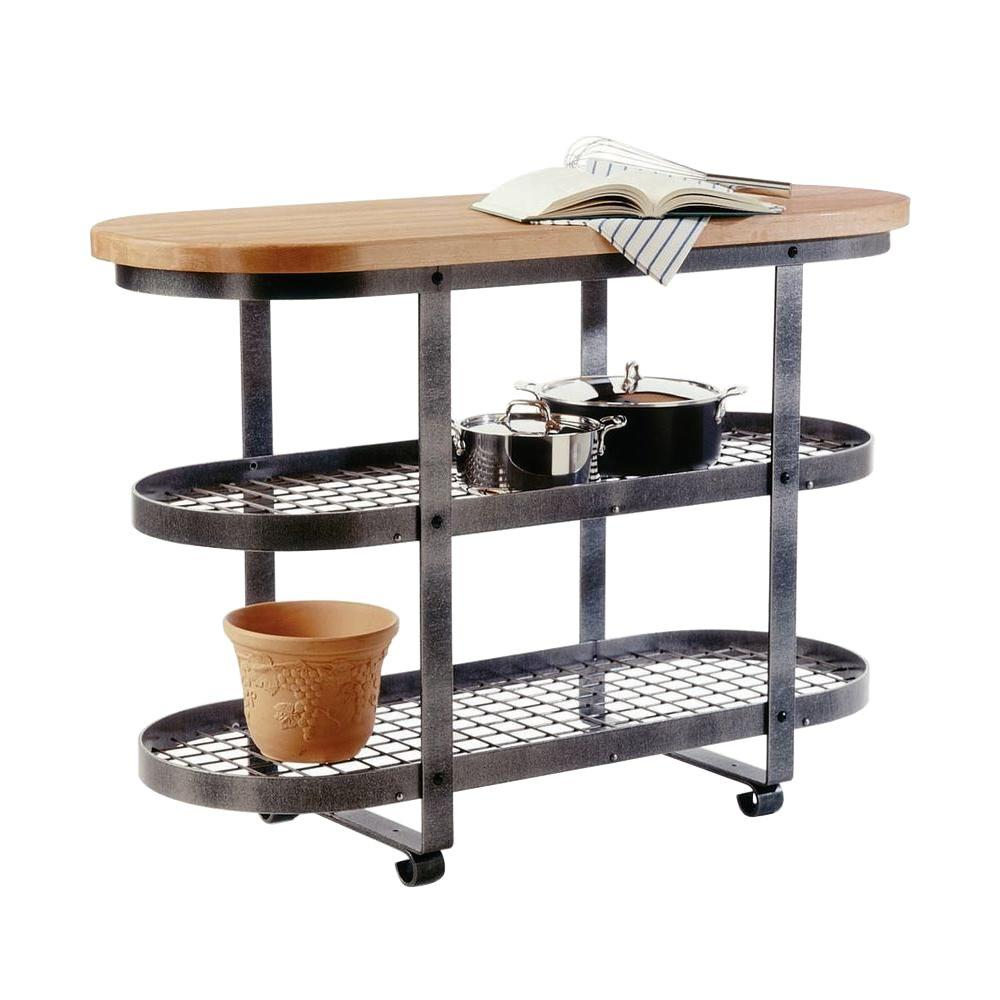 Premier 52 in. W Hammered Steel Gourmet Island with Butcher Block