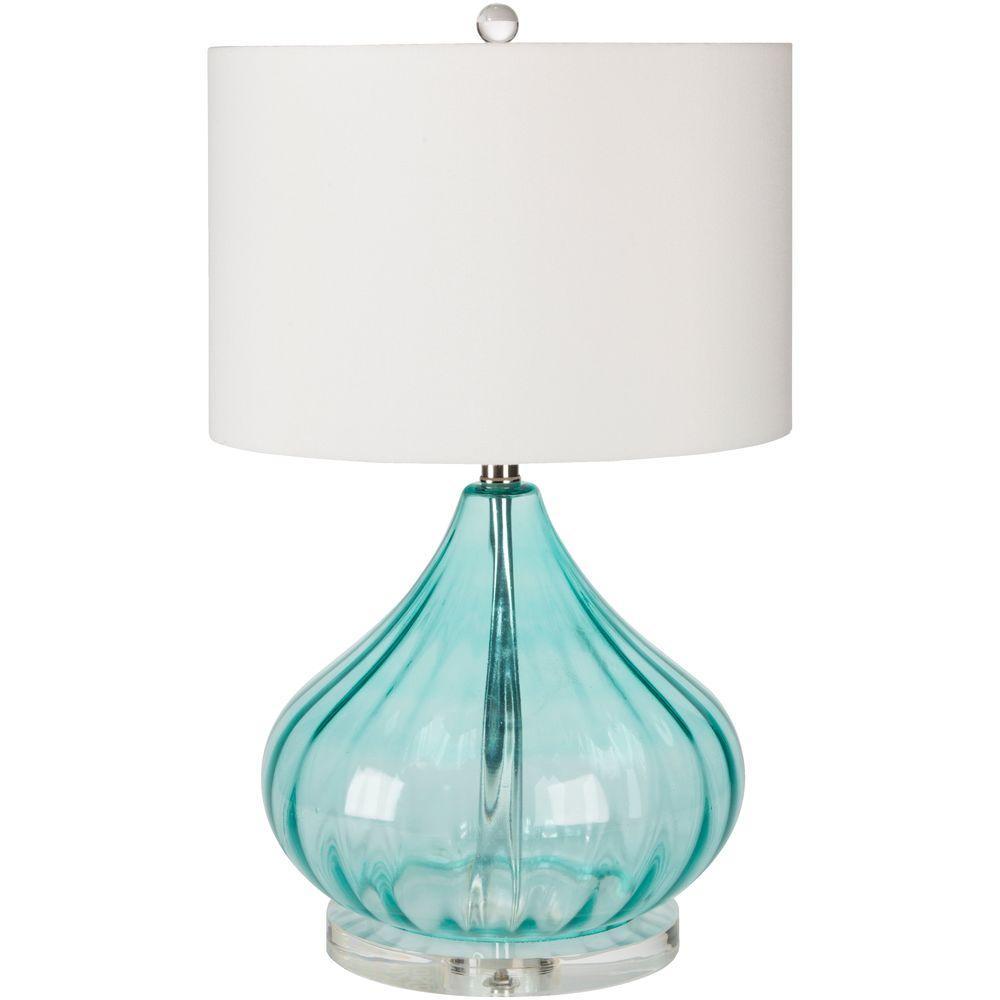 Ridgway 24.5 in. Transparent Blue Indoor Table Lamp