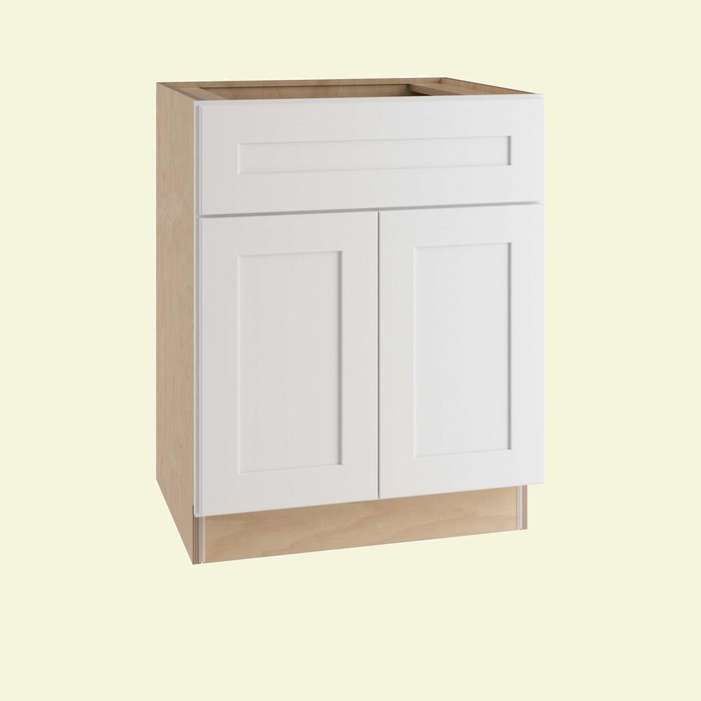 Home Decorators Collection Newport Assembled 30 in. x 34.5 in. x 24 in. Sink Base Kitchen Cabinet with False Drawer Front in Pacific White