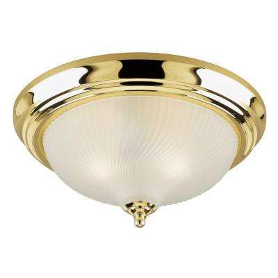 3-Light Ceiling Fixture Polished Brass Interior Flush-Mount with Frosted Swirl Glass