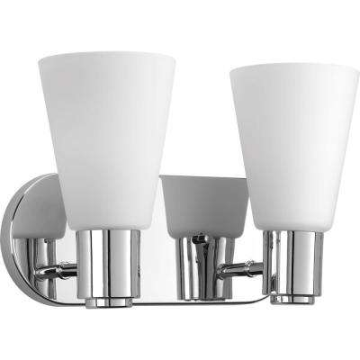 Logic Collection 2-Light Polished Chrome Bathroom Vanity Light with Glass Shades