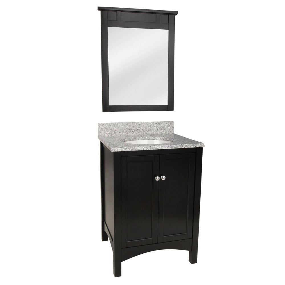 Foremost Haven 25 in. Vanity in Espresso with Napoli Granite Vanity Top and Mirror in Espresso with White Basin