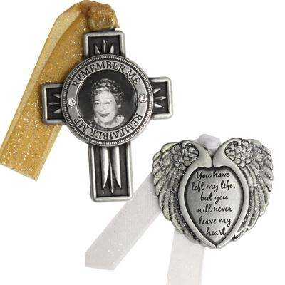 Cross and Angel Wings Memorial Ornament Set