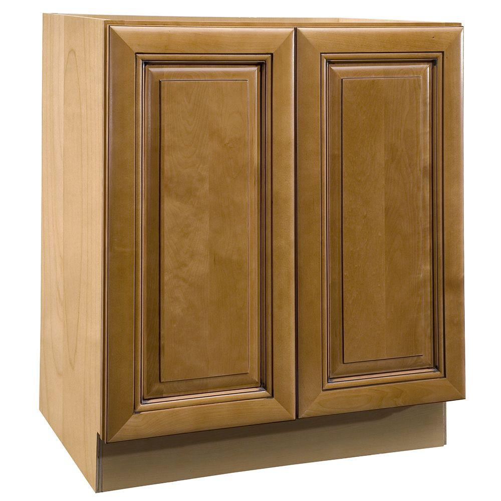Home Decorators Collection Lewiston Assembled 18x34.5x24 in. Double Pullout Wastebasket Base Kitchen Cabinet in Toffee Glaze