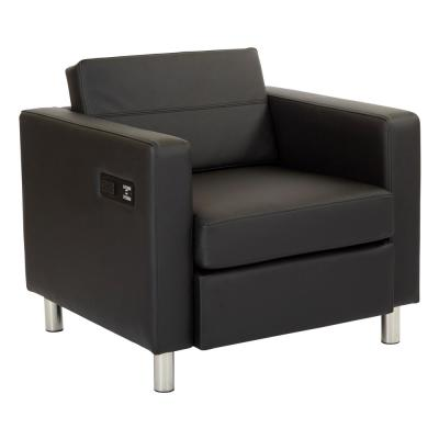 Atlantic Dillon Black Fabric Chair with Single Charging Station