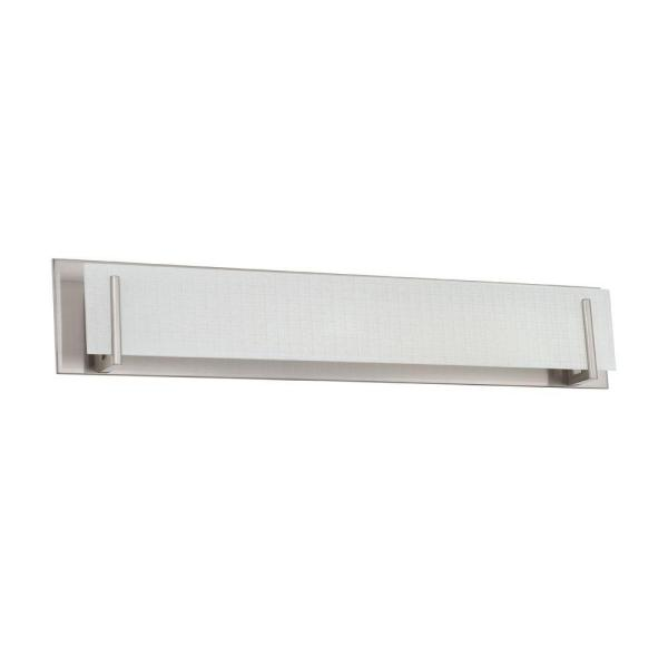 Aurora Series 6-Light Satin Nickel Vanity Light with Linen Glass