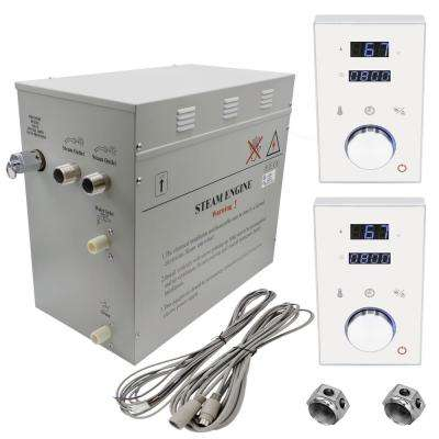 Superior 12kW Deluxe Self-Draining Steam Bath Generator 2 Digital Programmable Controls in White, 2 Chrome Steam Outlets