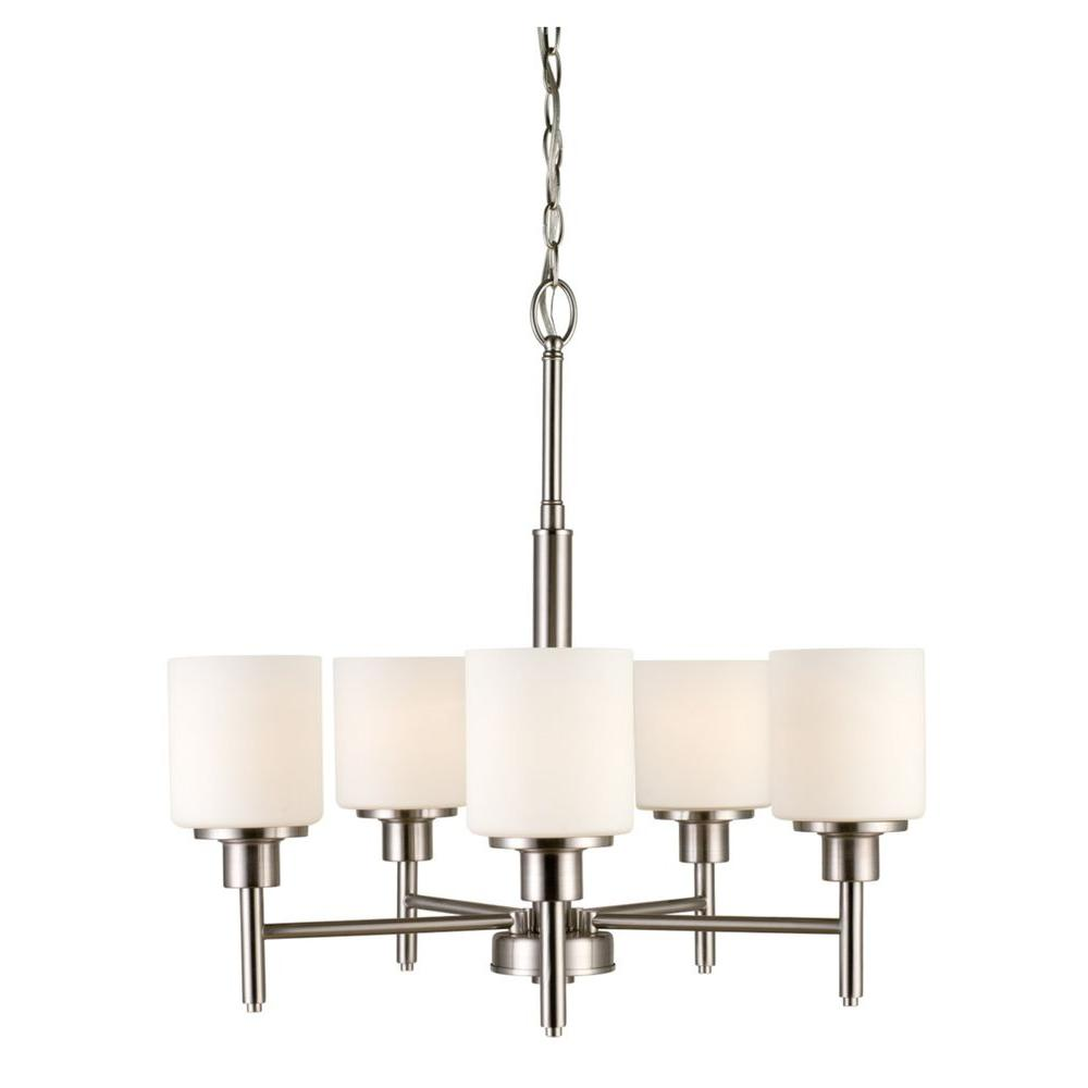 Aubrey 5-Light Satin Nickel Chandelier with Frosted White Shades
