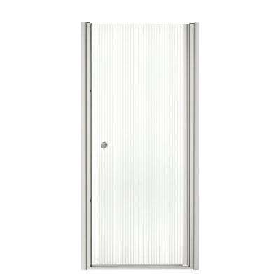 Fluence 31-1/2 in. x 65-1/2 in. Semi-Frameless Pivot Shower Door in Bright Silver with Handle