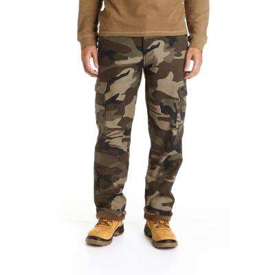 Men's 36X32 Camo Print Fleece Lined Cargo Pant