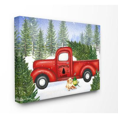 Christmas In Evergreen Truck.24 In X 30 In Holiday Christmas Tree Lane Red Pickup Truck With Dog And Lantern By Artist Sheri Hart Canvas Wall Art
