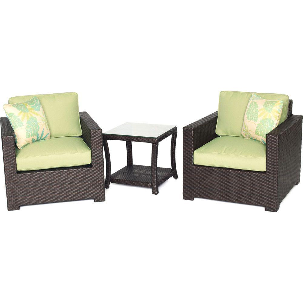 Metropolitan 3-Piece All-Weather Wicker Patio Chat Set with Avocado Green