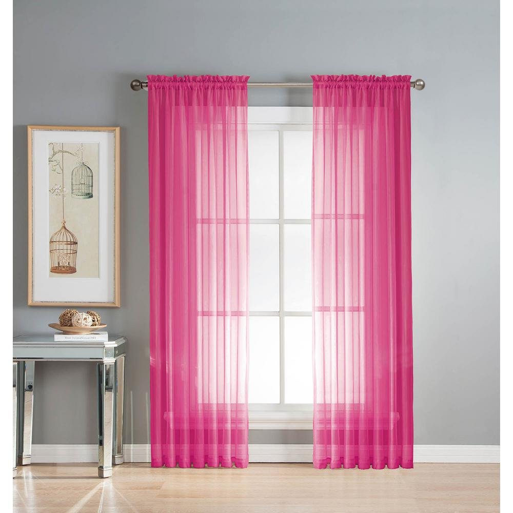 Sheer Diamond Voile Extra Wide 84 In L Rod Pocket Curtain Panel Pair Hot Pink Set Of 2
