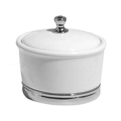 York Large Canister in White/Chrome