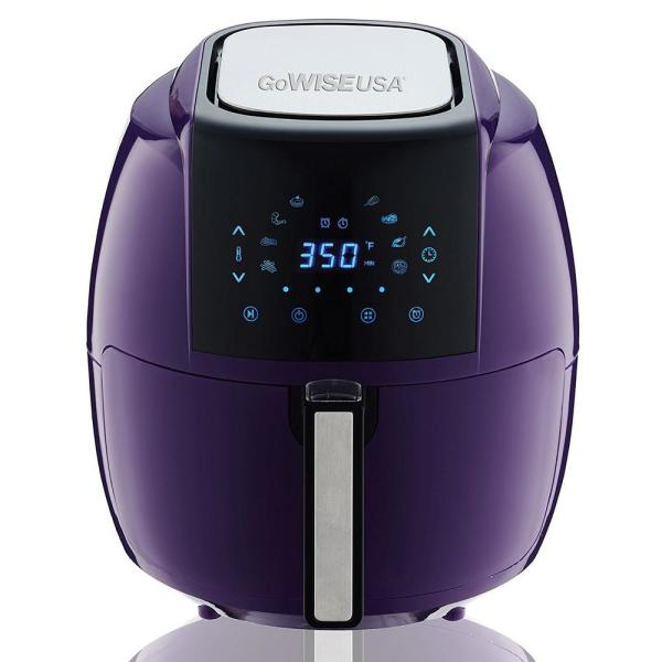 GoWISE USA 8-in-1 5.8 Qt. Plum Electric Air Fryer with Recipe Book