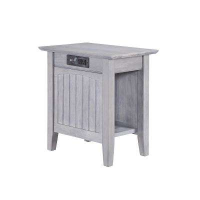 Nantucket Driftwood Chair Side Table with Charging Station