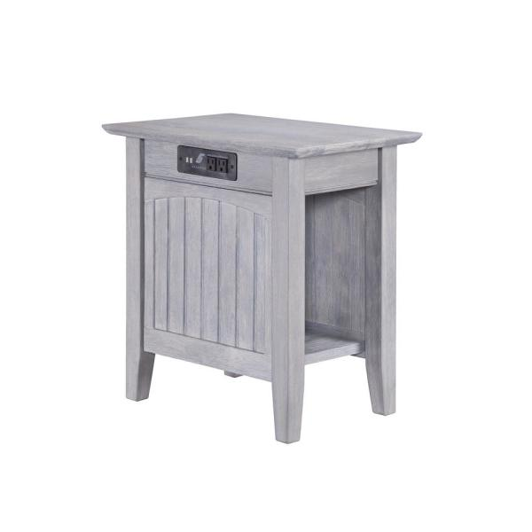 Atlantic Furniture Nantucket Driftwood Chair Side Table with Charging Station