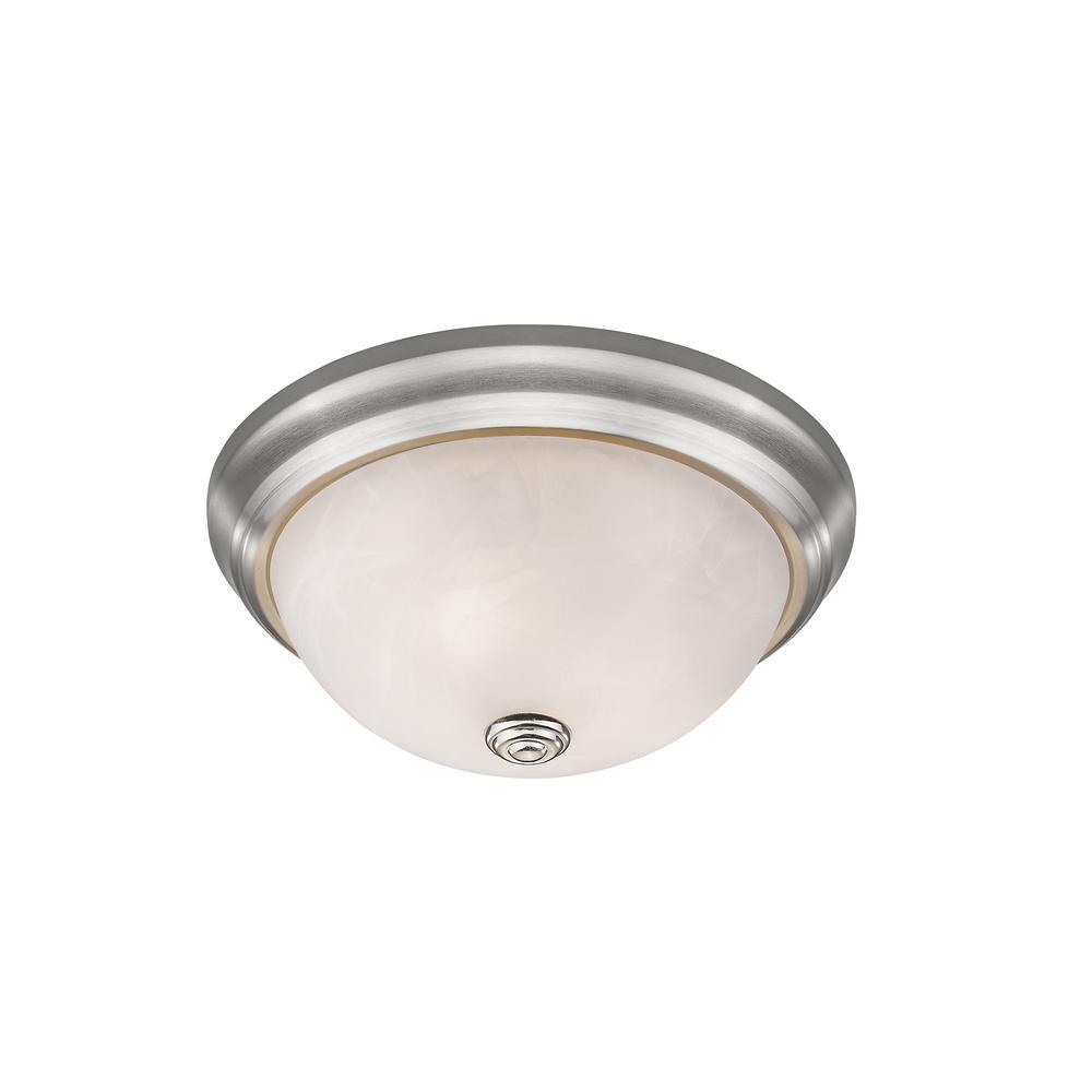 Curran 2-Light Brushed Nickel Flushmount with Alabaster Glass Shade