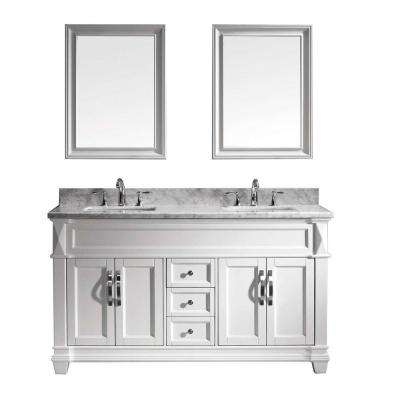 Victoria 60 in. W x 36 in. H Vanity with Marble Vanity Top in Carrara White with White Square Basin and Mirror