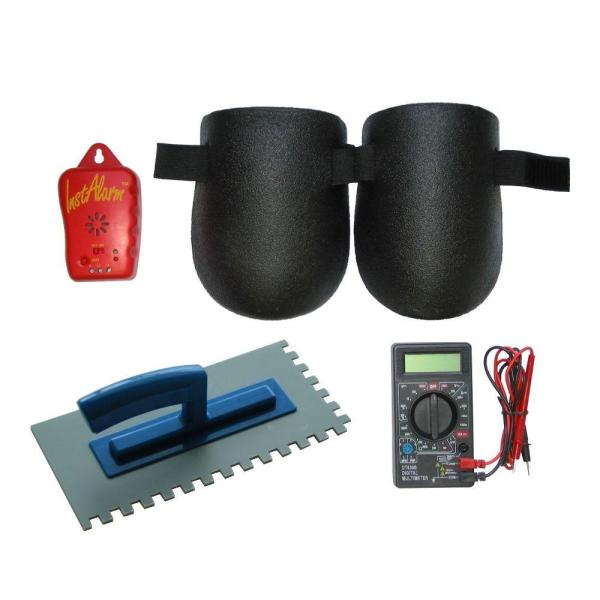 Floor Heating System Installation Tool Kit with 3/8 in. x 3/8 in. Plastic Trowel, Multimeter, Monitor, Knee Pads