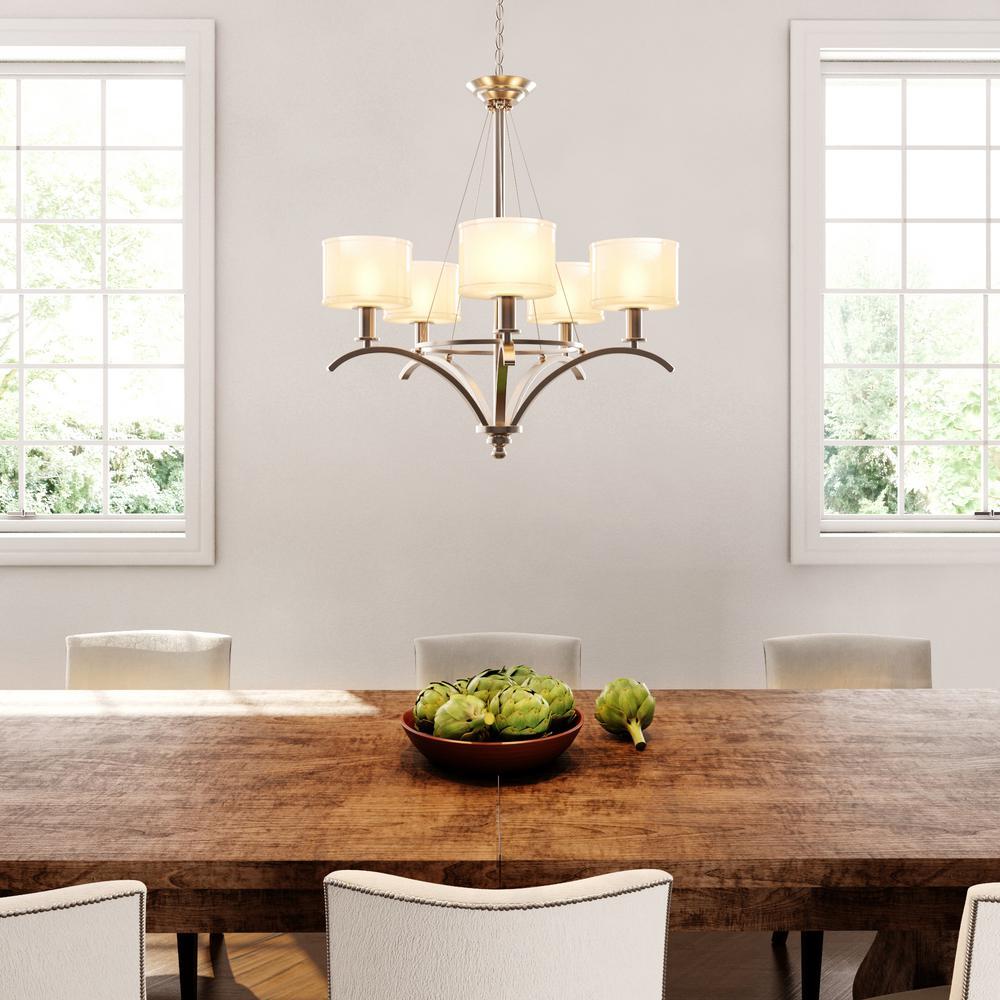 Mayport Collection 5-Light Hanging Brushed Nickel Chandelier