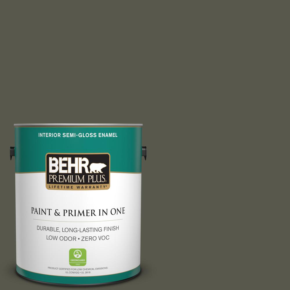 BEHR Premium Plus 1-gal. #780D-7 Wild Rice Zero VOC Semi-Gloss Enamel Interior Paint