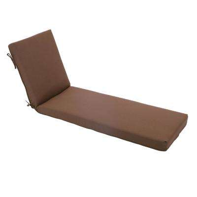 21 in. x 71 in. Outdoor Deluxe Chaise Lounge Cushion in Cashew
