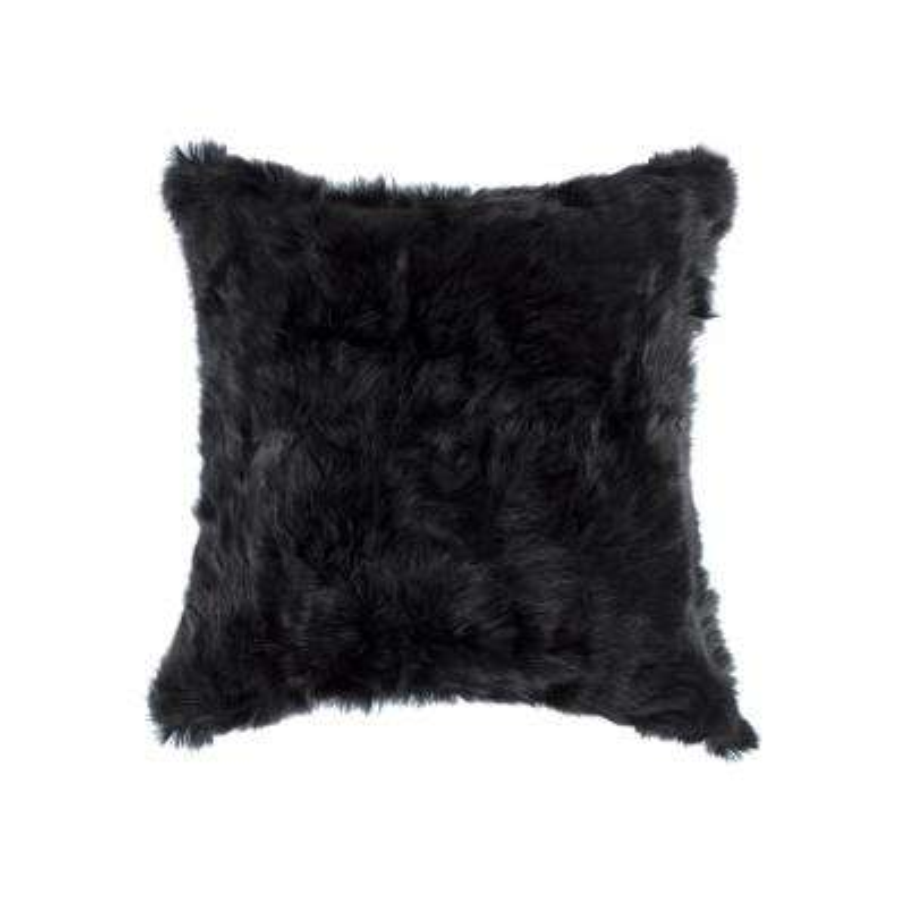Rabbit Fur 18 in. x 18 in. Black Pillow