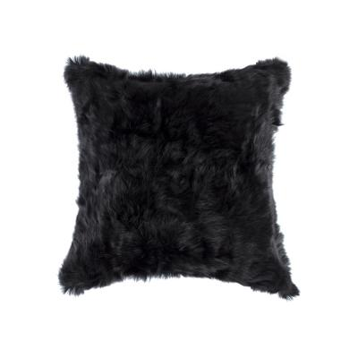 Rabbit Fur Black Solid 18 in. x 18 in. Throw Pillow