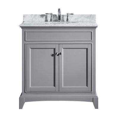 Elite Stamford 30 in. W x 23.5 in. D x 36 in. H Vanity in Gray with Carrera Marble Top in White with White Basin