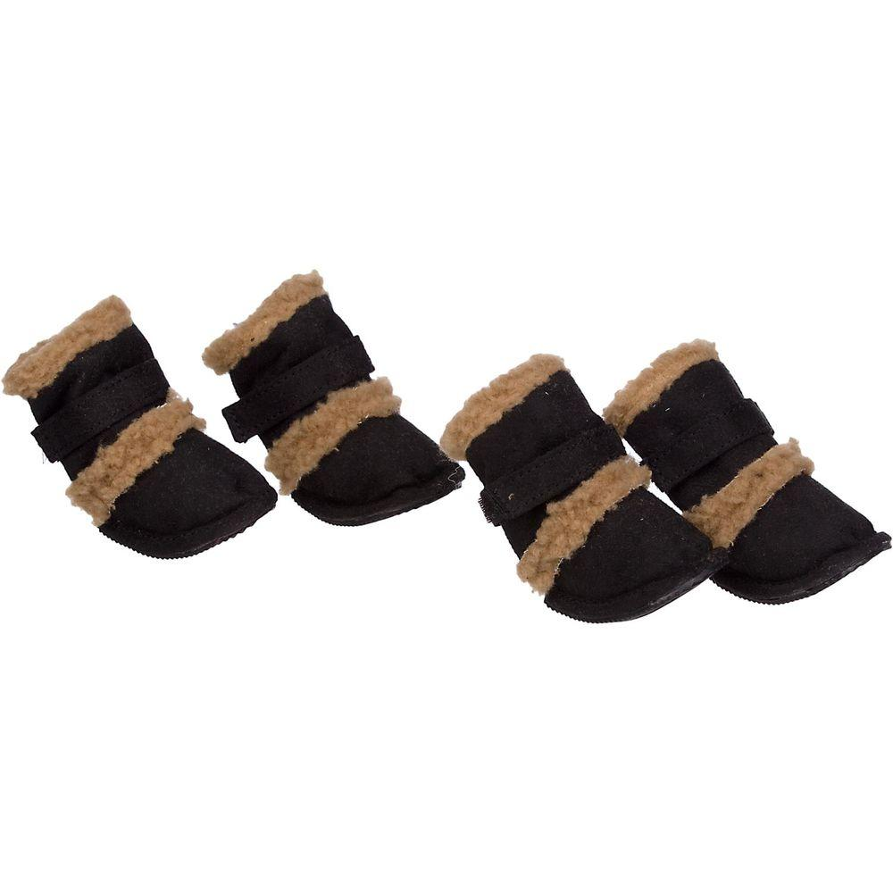 Petlife Small Black Shearling Duggz Shoes (Set of 4)