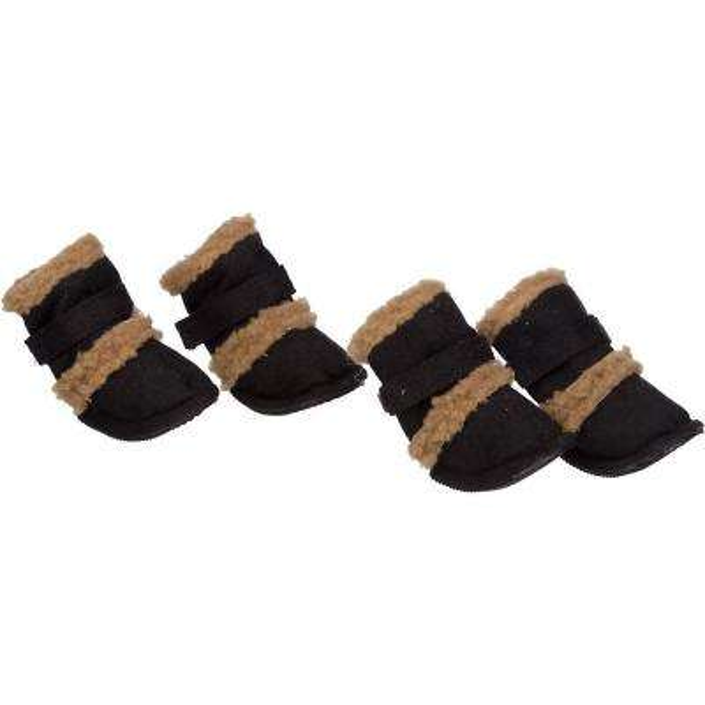 X-Small Black Shearling Duggz Shoes (Set of 4)