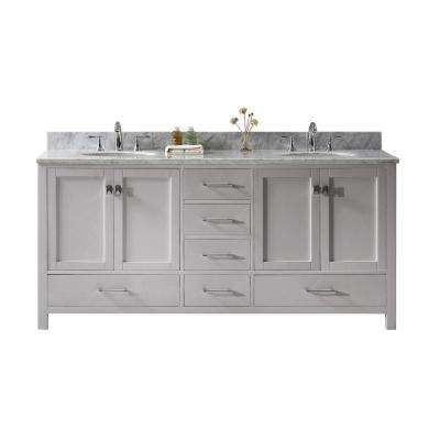 Caroline Avenue 72 in. W Bath Vanity in Cashmere Gray with Marble Vanity Top in White with Round Basin