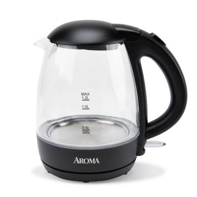 5-Cup Black Glass Corded Electric Kettle with Automatic Shut-Off