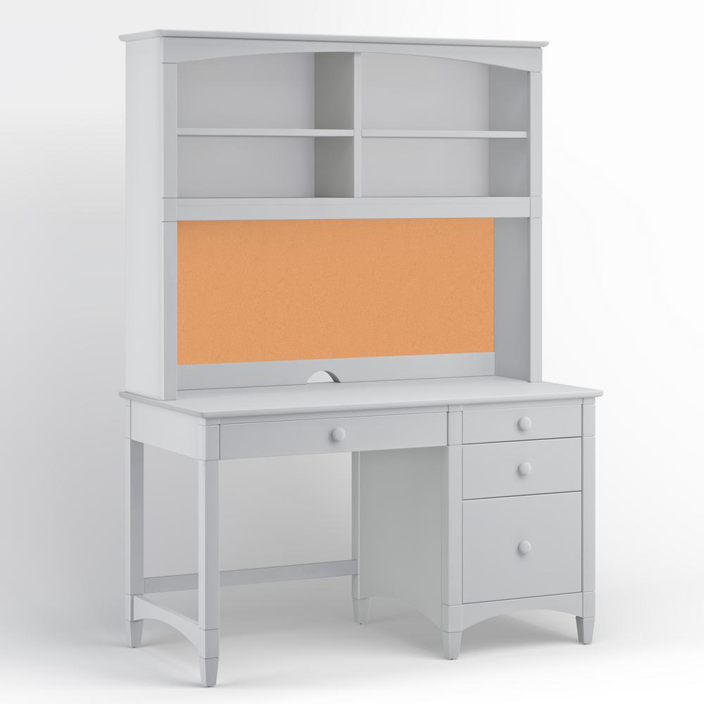 Essex Dove Gray Pedestal Desk with Hutch